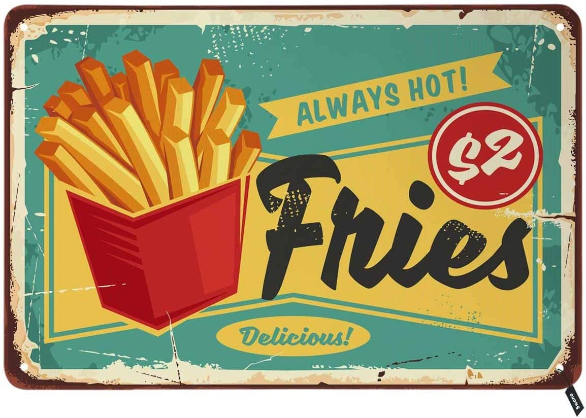Swono French Fries Tin Signs,Vintage Metal Tin Sign for Men Women,Wall Decor for Bars,Restaurants,Cafes Pubs,12x8 Inch