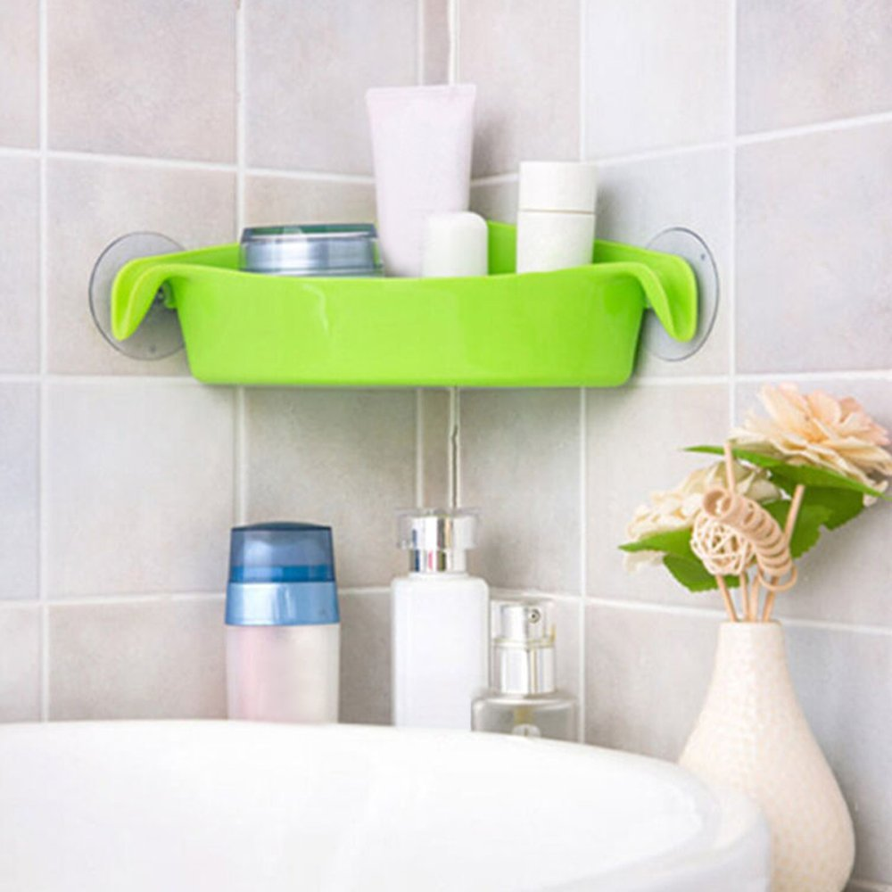 AGUIguo Home Bathroom Corner Shelf Suction Rack Organizer Cup Storage Shower Wall Basket (Green) by AGUIguo bathroom products (Image #4)