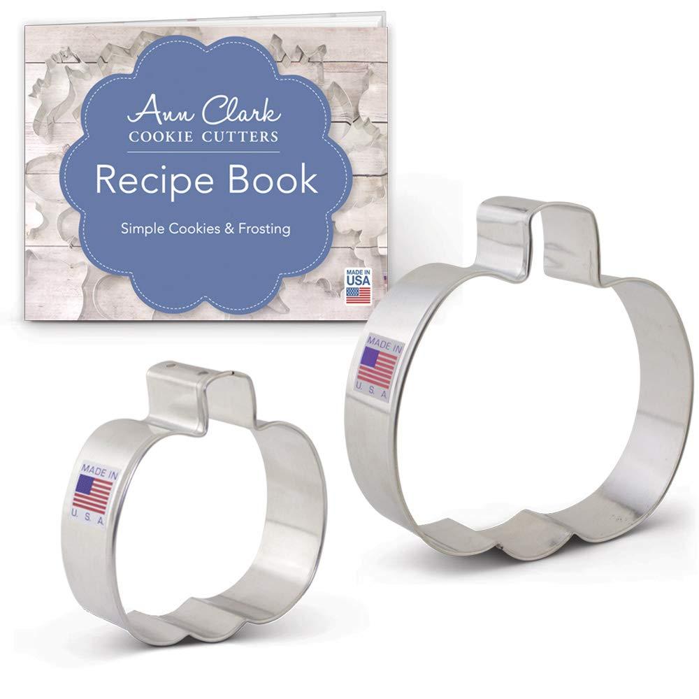 Fall / Halloween Pumpkin Cookie Cutter Set - 2 piece - 3 and 4 Inch - Ann Clark - US Tin Plated Steel Ann Clark Cookie Cutters A6-191