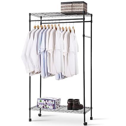TANGKULA Garment Rack DIY Portable Home Metal Clothes Hanger Closet  Organizer (rack With Wheel)