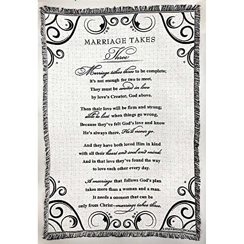 Marriage Takes Three Black and White 52 x 68 All Cotton Tapestry Throw Blanket