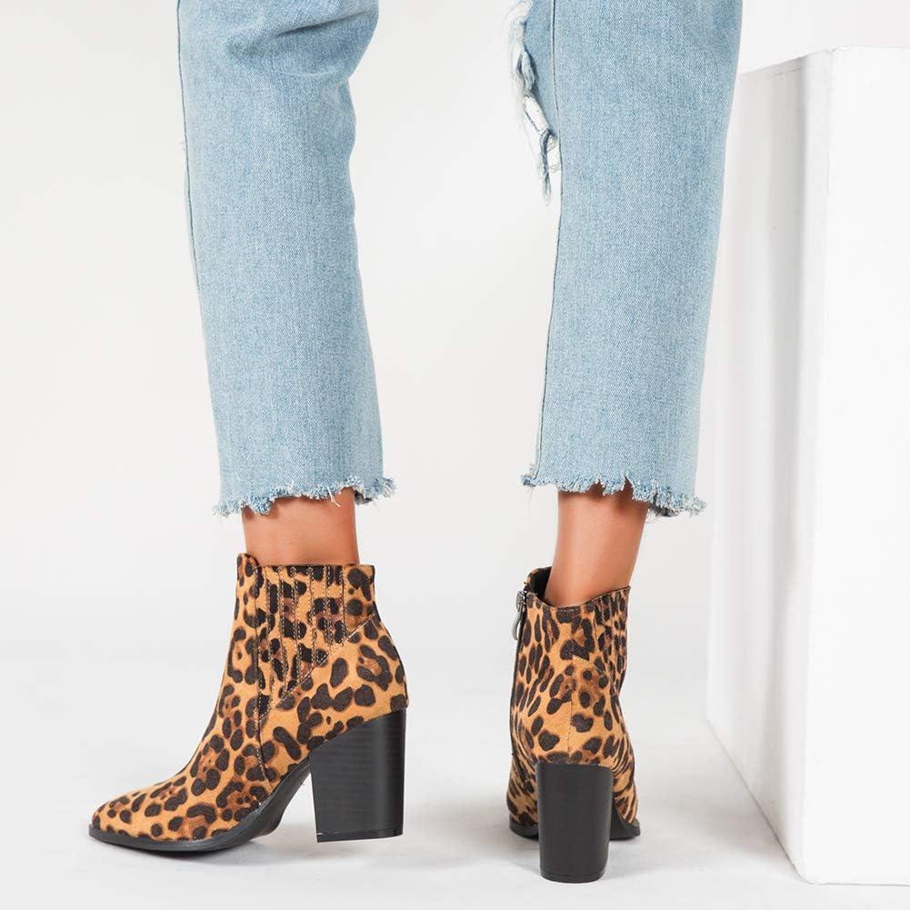Liuruijia Women\'S Fashion Leopard Block hoch Heel Ankle Booties Pointed Toe Seite Zipper Suede Short Boots Fall Winter Dress Shoes Cj19-Dx804