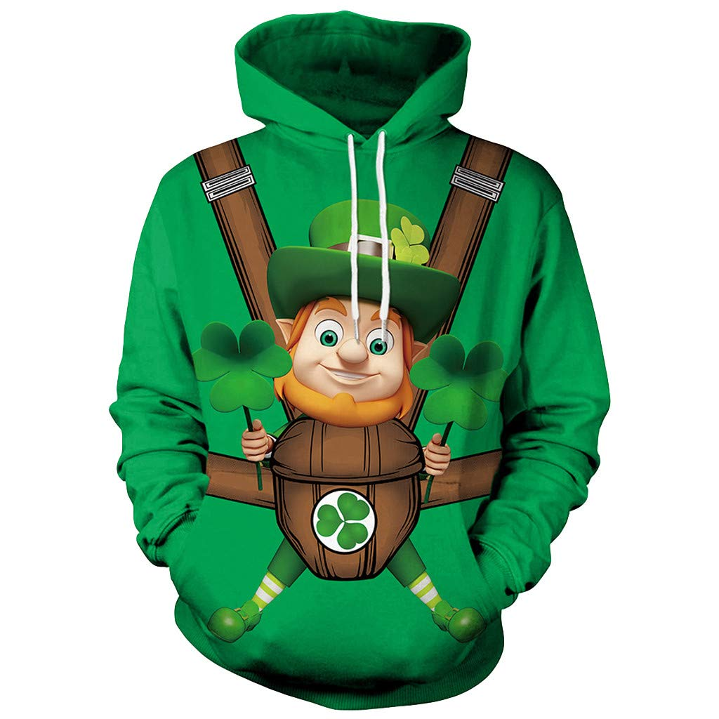 Teresamoon-Shirt Men Women's New Printing St. Patrick's Day Green Clover Hoodie Sweatshirt Tops Best Seller