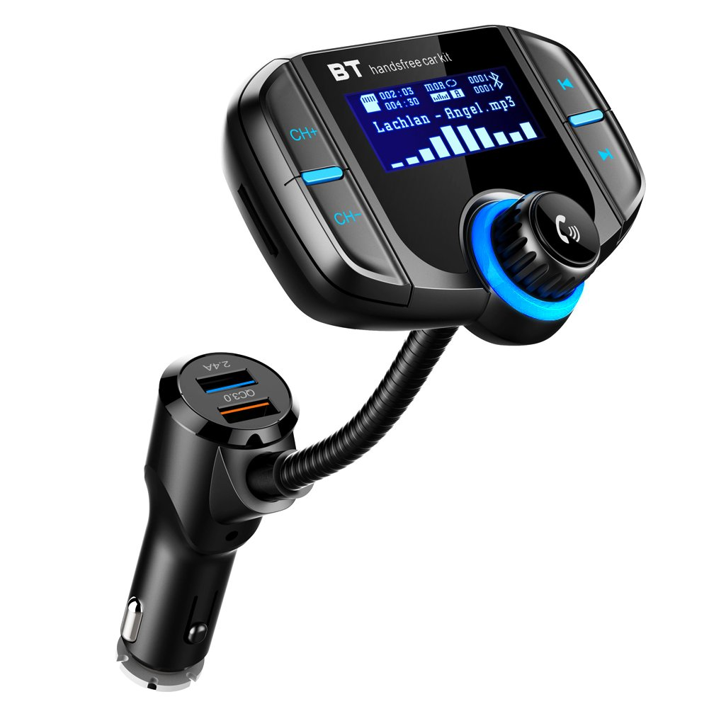 Bluetooth FM Transmitter with QC 3.0, LUMAND Wireless in-Car Radio Adapter Hands Free Car Kit with 1.7 Inch Display and Dual USB Car Charger AUX Input TF Card Slot