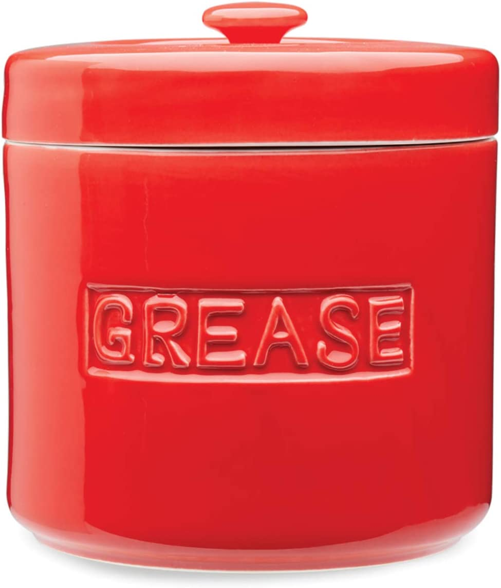 Fox Run Grease Container, 5 x 5 x 5.5 inches, Red