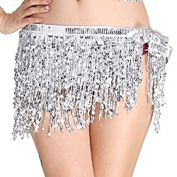 Belly Dance Hip Scarf Performance Outfit Silver Skirt