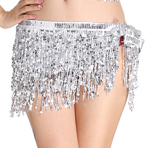 MUNAFIE Women's Belly Dance Hip Scarf Performance Outfits Skirt Festival Clothing Silver,One Size