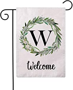 ULOVE LOVE YOURSELF Welcome Decorative Garden Flags with Letter W/Olive Wreath Double Sided House Yard Patio Outdoor Garden Flags Small Garden Flag 12.5×18 Inch
