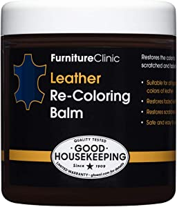 Furniture Clinic Leather Recoloring Balm (8.5 fl oz) - Leather Color Restorer for Furniture, Repair Leather Color on Faded & Scratched Leather Couches - 16 Colors of Leather Repair Cream (Navy Blue)