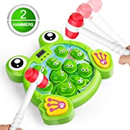 LURLIN Interactive Whack A Frog Game, Durable Pounding Toy, Helps Fine Motor Skills, Fun Gift for Ages 3, 4,5 6 Years Old Ki