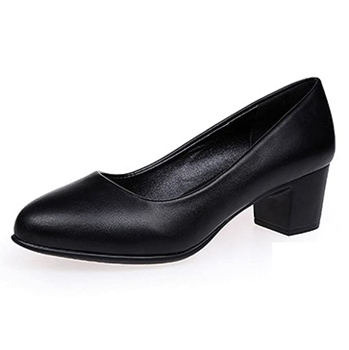HGDR Botines Negros De Tacón Medio De Mujer Tacones Cerrados Zapatos De La Corte Del Banquete De Boda Oficina De Trabajo Cómodo Deslizamiento En Los ...