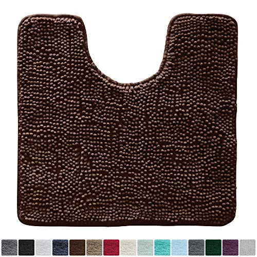 Gorilla Grip Original Shaggy Chenille Oval U-Shape Contoured Mat for Base of Toilet, 22.5x19.5 Size, Machine Wash and Dry, Soft Plush Absorbent Contour Carpet Mats for Bathroom Toilets (Brown)