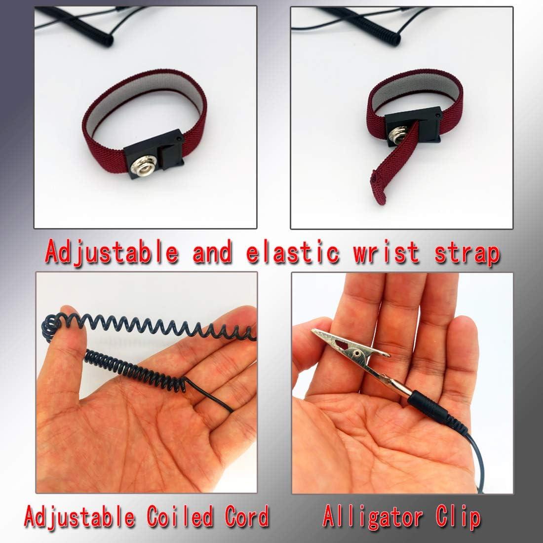 Feezi Anti Static Wrist Strap 180 cm//6 Feet Alligator Clip with Adjustable Coiled Cord ESD Anti Shock Wristband Bracelet