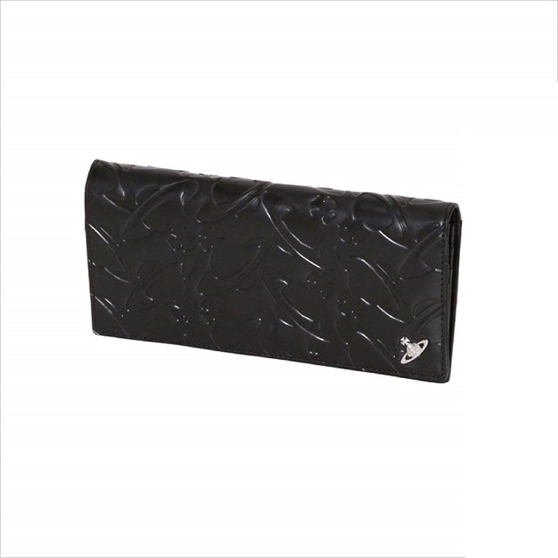 ヴィヴィアンウエストウッド Vivienne Westwood メンズ 財布 WATER ORB エンボス かぶせ 長財布 B078XHM7JFブラック