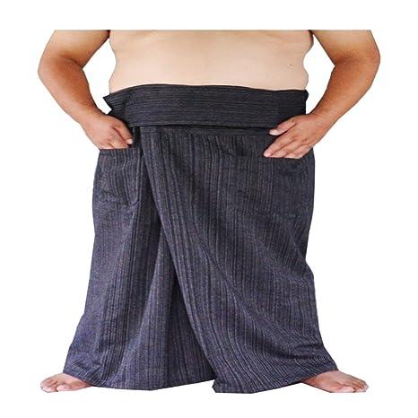 40c53081e3f Amazon.com  Miss Bangkok Extra Big and Long Thai Fisherman Pants Yoga  Trousers Free Size Plus Size 100% Striped Cotton Black Waist 77