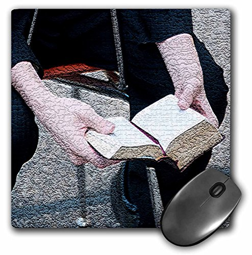 3dRose LLC 8 x 8 x 0.25 Inches Mouse Pad, A Missionary For The Lads Church Reading His Book Of Mormon Textured (mp_44095_1)