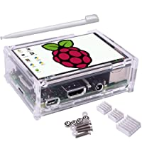 Kuman Ecran Tactile LCD TFT 3.5 Pouces Compatible Raspberry Pi 3 Modèle B, B+, Module SPI 480x320 Boîtier de Protection, 3 Disspateurs Thermiques, Un Stylo Inclus SC11