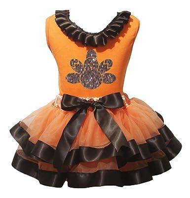 Petitebelle Bling Turquía camiseta naranja marrón falda de pétalos ...