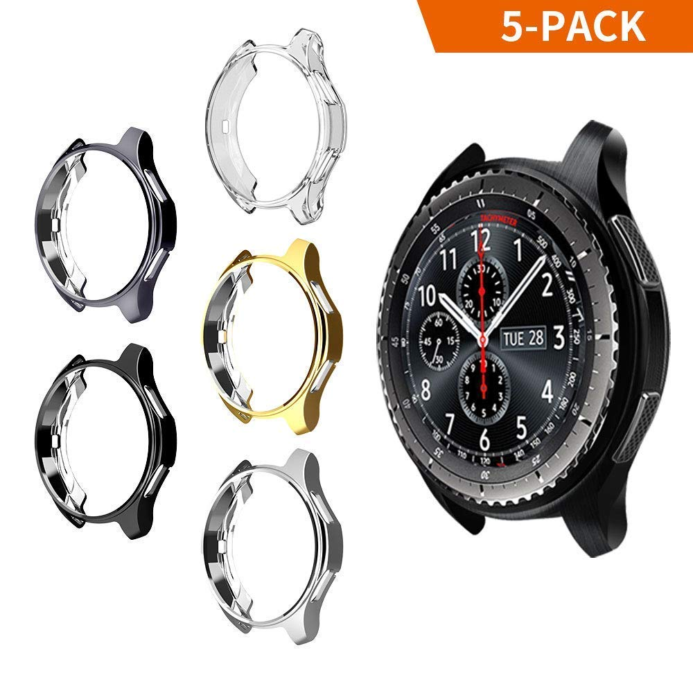 iHYQ Case for Samsung Gear S3 Frontier SM-R760,TPU Scractch-Resist Shock-Proof All-Around Protective Bumper Shell Protective Band Galaxy Watch SM-R800 46mm Smartwatch (5 Pack) by iHYQ