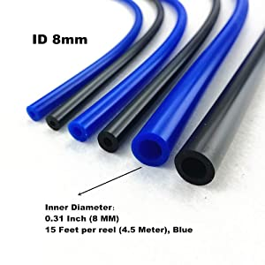 I33T High Performance Pipe Silicone Vacuum Hose Rubber Tube Inner Diameter 0.31 Inch (8 MM), Outer Diameter 0.55 Inch (14 MM) Blue, Length 15 Feet (4.5 Meter) per reel