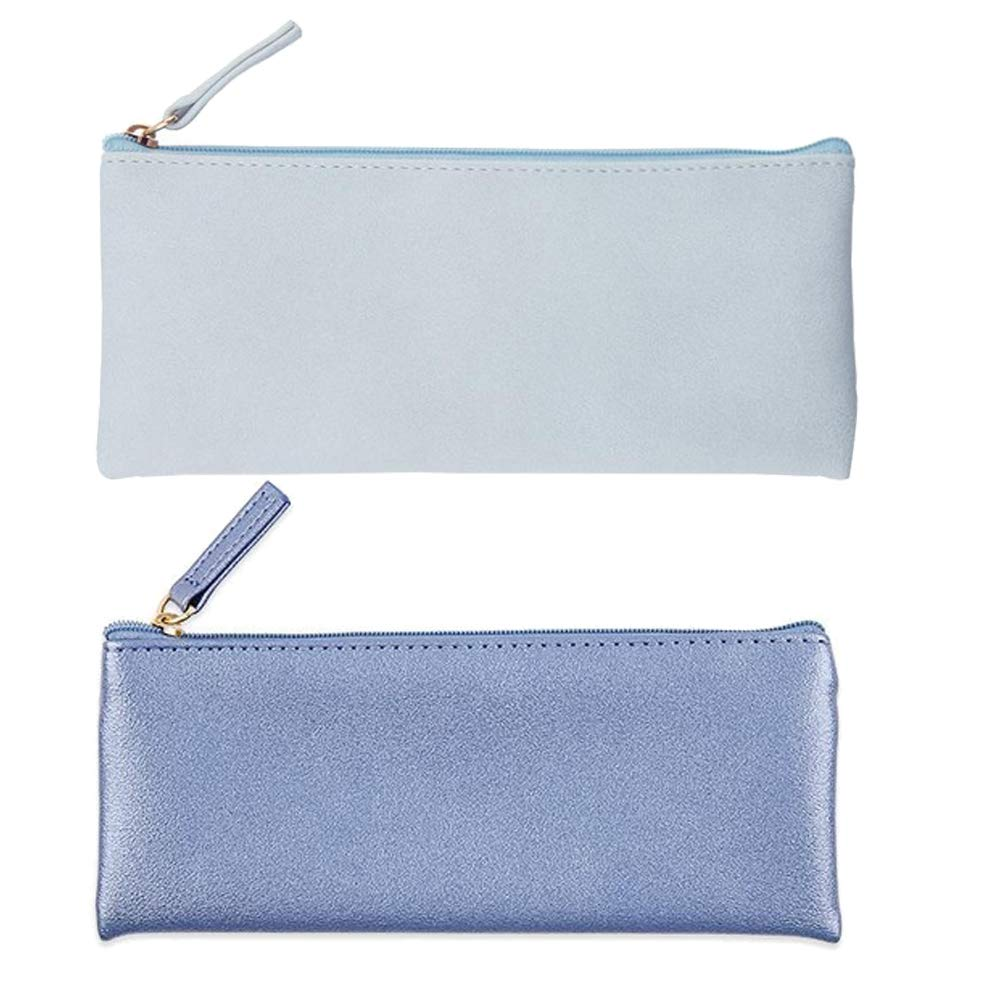 Muhuyi PU Leather Pencil Case Pouch Bag Simple Pencils Pouch Makeup Pouch Cosmetic Pouch for Girls, Boys, School, Travel (Blue+Blue Gold)