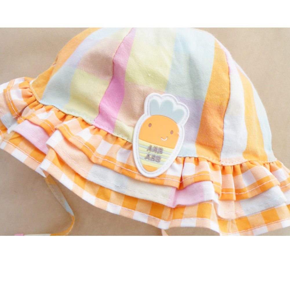 IMLECK Sunny Carrot Plaid Cotton Fisherman Hat with Wide Brim for Sun Protection