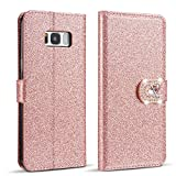 ZCDAYE Bling Glitter [Magnetic Closure] PU Leather Flip Wallet [Love Diamond Buckle] Folio Inner Soft TPU Smooth Finish Stand Cover Case for Samsung Galaxy S6 - Rose Gold