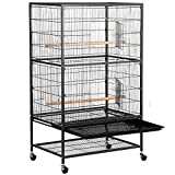 Yaheetech 52'' Bird Cage Large Wrought Iron Birdcage with Rolling Stand+2 Doors+4 Feeder Trays+2 Perches for Parrot Cockatiel Cockatoo Parakeet Finches