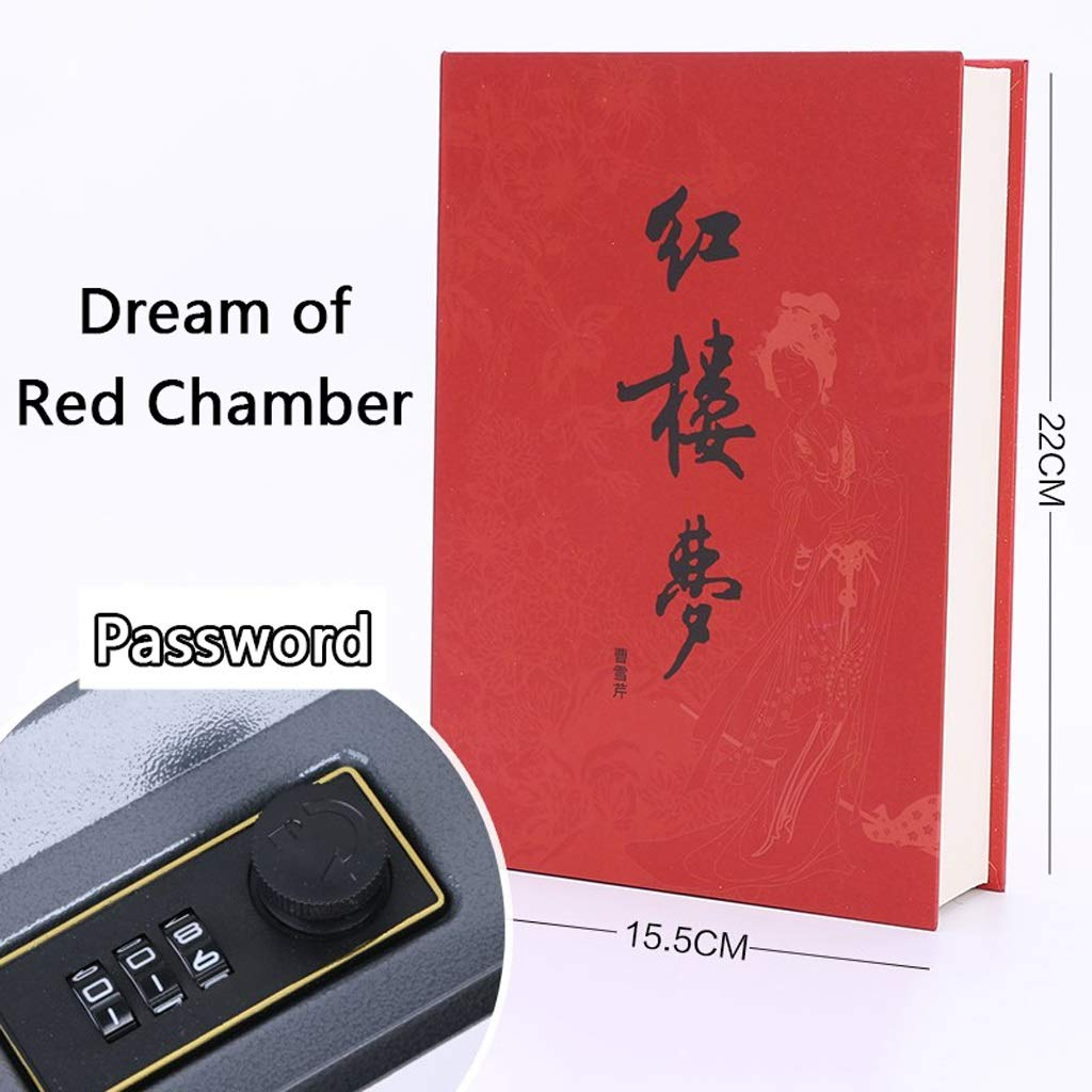 Diversion Book Safe StorageBox Journey to The West Simulation Book Steel Safe Two Encryptions Coffer The Art of War Piggy Bank On The Shelf Safe (Color : Dream of Red Chamber, Size : Password)