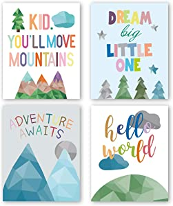 "Watercolor Inspirational Positive Quotes Art Prints Set of 4 (8""X10"" Adorable Abstract Geometric Painting Mountain,Trees,Sunrise Canvas Poster for Gifts Kids Bedroom Classroom Decor, No Frame"