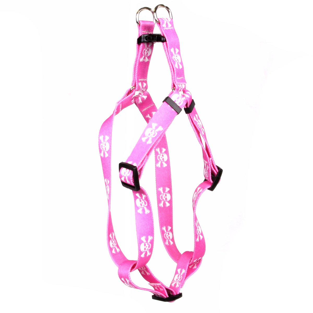 Yellow Dog Design Pink Skulls Step-in Dog Harness, X-Small-3/8 Wide and fits Chest of 4.5 to 9''