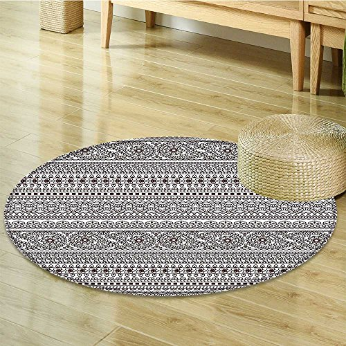 Small round rug Carpet Leaves like Borders Stripes like Art Print Black and White door mat indoors Bathroom Mats Non Slip-Round - Border Leaf Rug