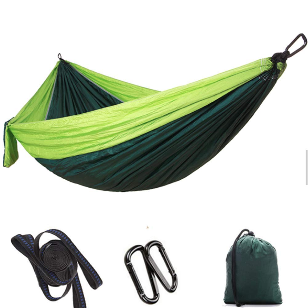 Fruitgreendarkgreen Single Double Hammock Adult Outdoor Backpacking Travel Survival Hunting Sleeping Bed Portable with 2 Straps 2 Carabiner