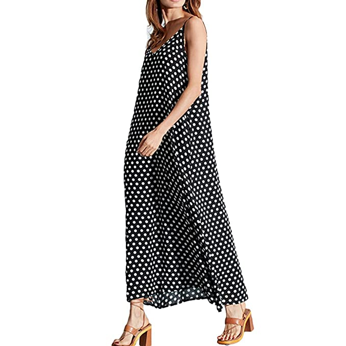ffe6059ac0a Romacci Women V Neck Polka Dot Spaghetti Strap Dress Boho Beach Long Maxi  Dresses Black