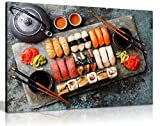 Japanese Sushi Rolls Restaurant Food Canvas Wall Art Picture Print (36x24in)