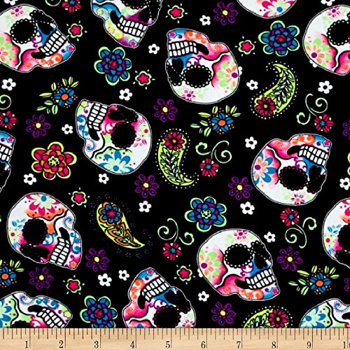 Pine Crest Fabrics Sugar Skulls Athletic Knit Black and Green Neon Fabric by The Yard