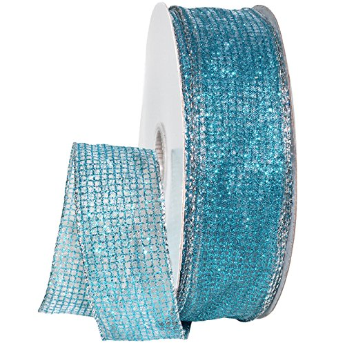 Morex Ribbon 7435 Cosmic Ribbon, 1-1/2 inch, 50-Yard, Blue (Wired Organza Blue Ribbon)