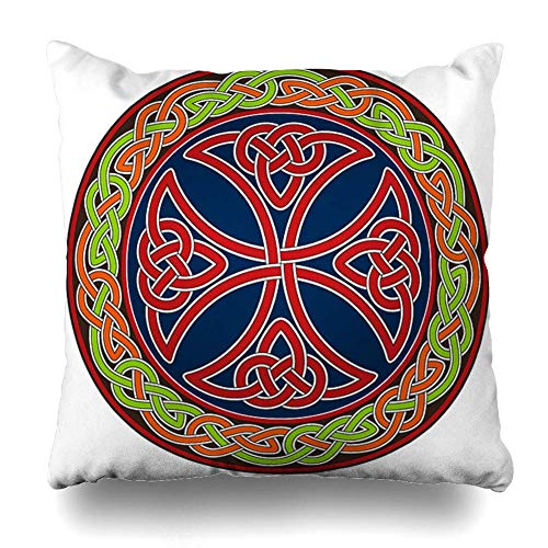 Throw Pillow Covers Ancient Knot Celtic Cross Circle Tribal Border Pattern Trinity Home Decor Pillow Case Square Size 18 x 18 Inches Zippered Pillowcase ()