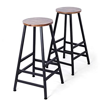 Superb Topincn Set Of 2 28Inch Metal Bar Stool Rustic Brown Mdf Tall Round Barstools Indoor Furniture For Kitchen Bar Restaurant And Pub Machost Co Dining Chair Design Ideas Machostcouk