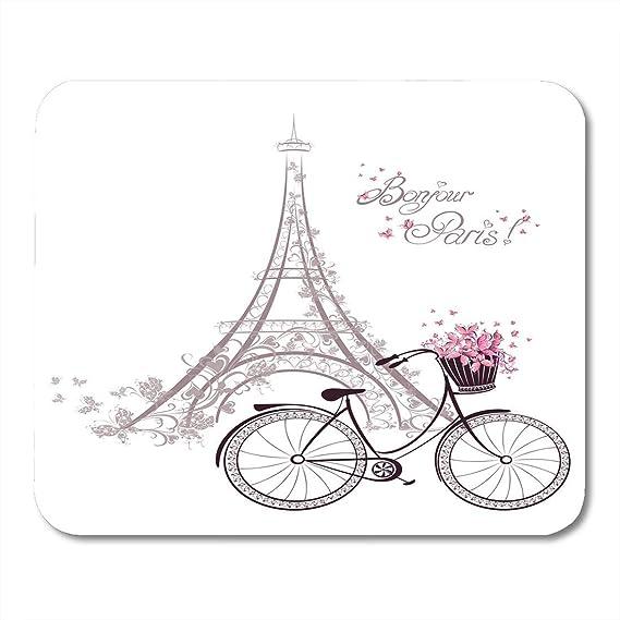 Mouse Pads Pink Vintage Bonjour París Texto Torre Eiffel y ...