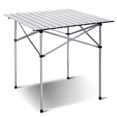 Seleq Mesa de Aluminio Enrollable para Camping, Picnic, Playa ...