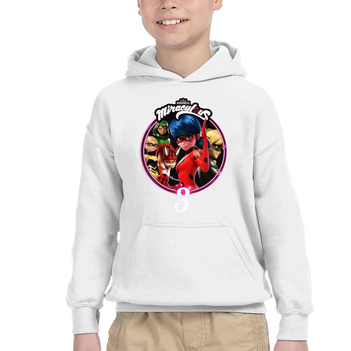 Censu Creative Miraculous Ladybug Fleece Pullover Hoodie for Boys