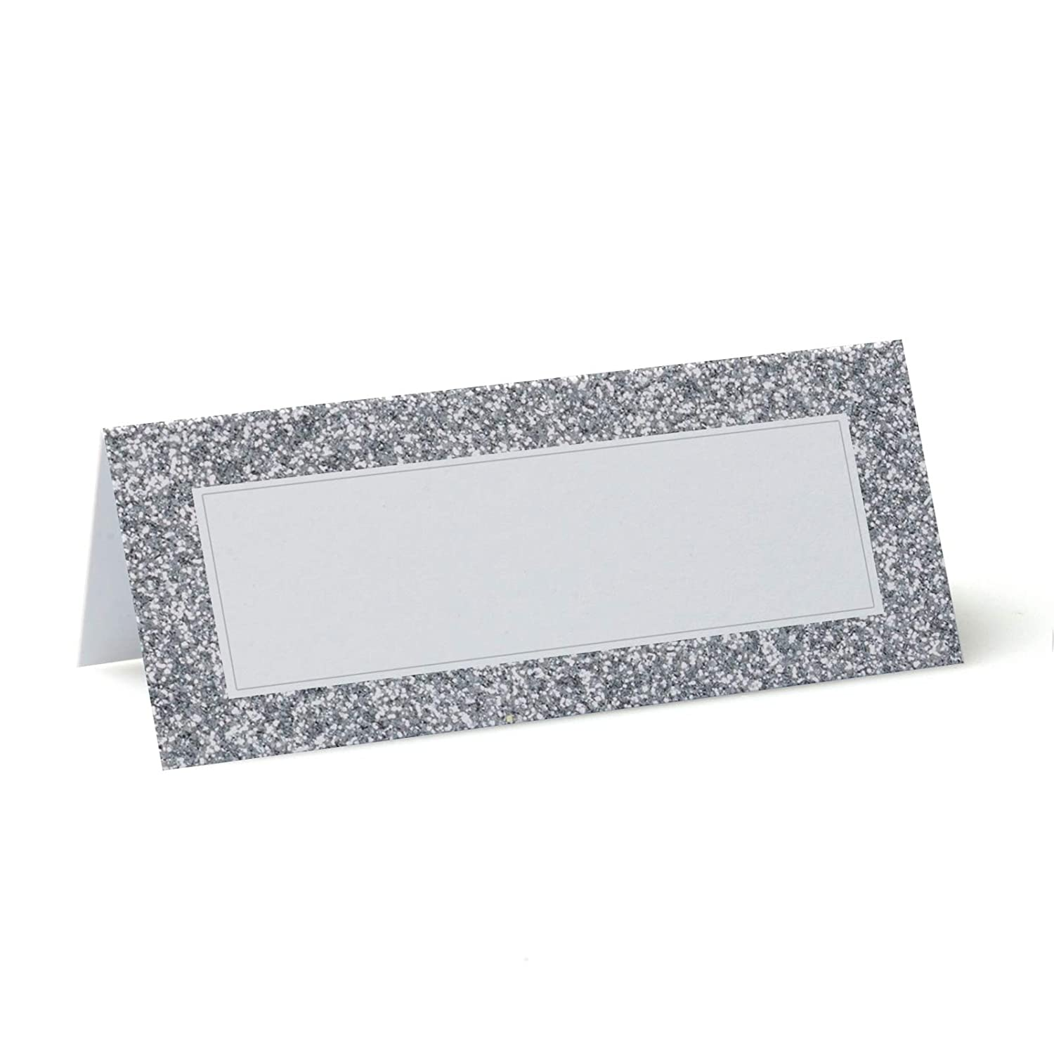 Printed Silver Glitter Effect Place Cards 10 90mm x 37mm Christmas Winter Wedding