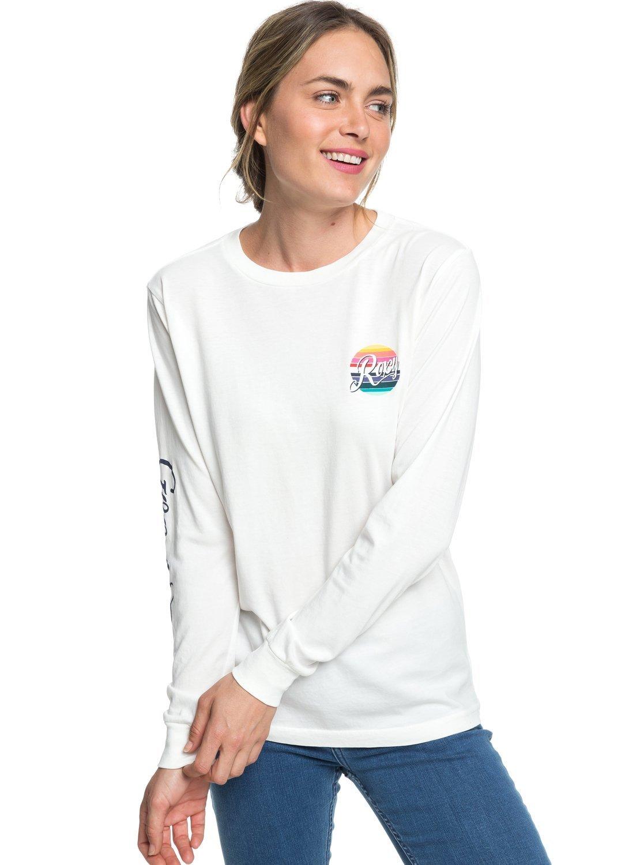 Roxy Womens Good Times Rainbow - Long Sleeve Tee - Women - S - White Marshmallow S