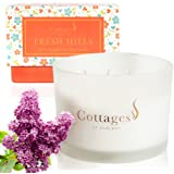 Cottages of England, Fresh Hills – Large 3-Wick Natural Soy Candle – Gentle Lilac & Musk – Gift Boxed – 20oz