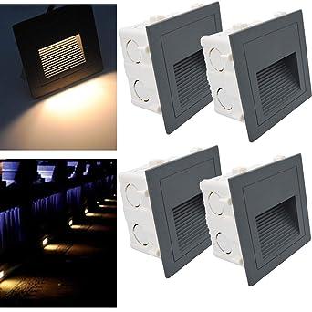 Arotelicht Ensemble de 4 luminaires encastrés LED 3W pour éclairage mural d'escalier Step Lampe d'éclairage aluminium 230V blanc chaud IP65 étanche,