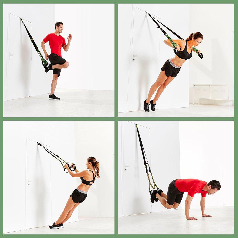 Sietema de Entrenamiento en Suspensión,Trèsutopia Fitnexx Suspensión Trainer para Ejercicios Fitness en Casa - Hasta 450KG (Verde - Camulaje): Amazon.es: ...