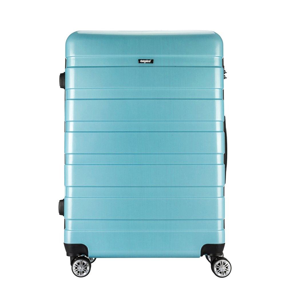 AMASAVA Valise Transport Bagage Cabine Valise en PC Ultra léger 5 Couleurs Valise Rigide 4 roulettes Double multidirectionnelles 43L/55CM, Noir