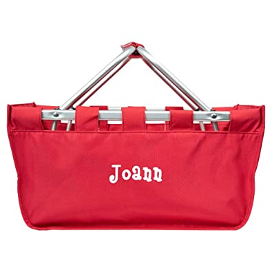 8aa275bbf20 Personalized Large Collapsible Market Tote Baskets with Aluminum Frame  (Bright Red)