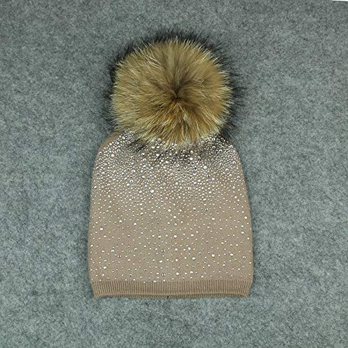 Zhiming Hat Lady hot Drill Knitted hat Woolly Ball Hooded Woolly hat (Wool Hat Drill)